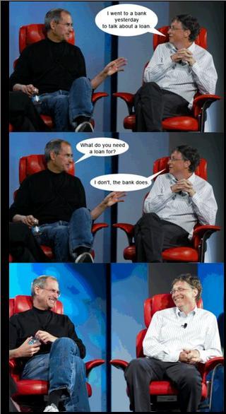 Gates und Jobs im Gespräch über Banken
