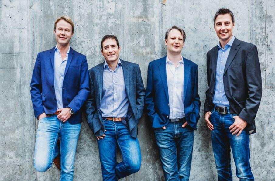 Management-Team von smava: Alexander Artopé (Gründer & CEO), David Vazquez Cortizo (CTO), Sebastian Bielski (CFO), Eckart Vierkant (Gründer & CPO) v.l.n.r.