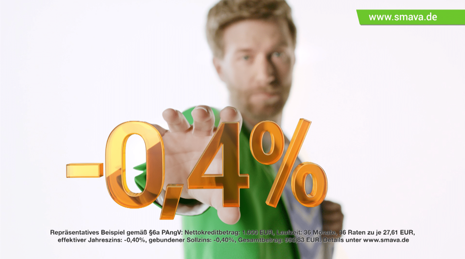 smava TV-Werbespot: Kredit mit Negativzins (-0,4 %)