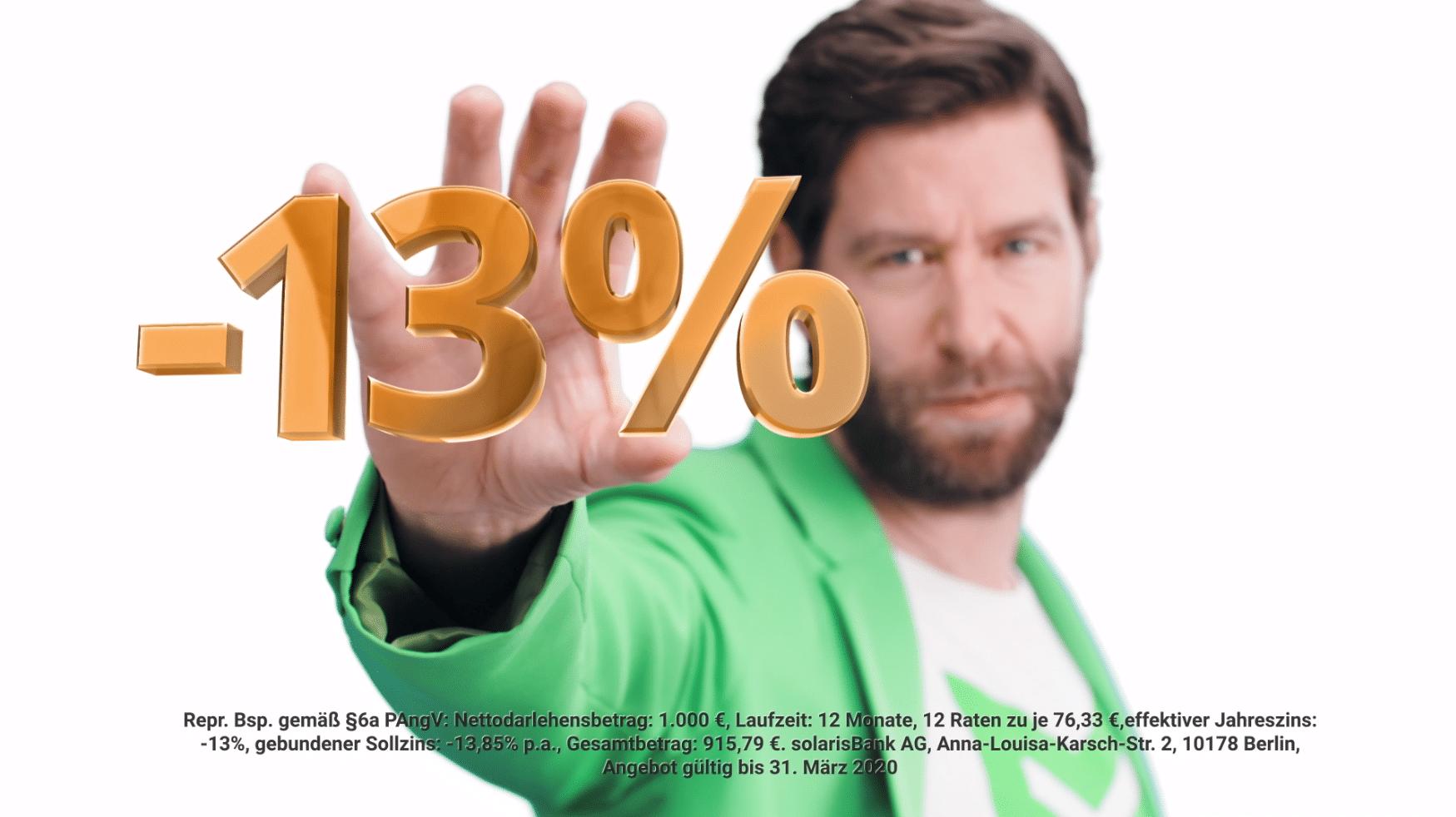 smava-Negativszinskredit Minus 13 Prozent